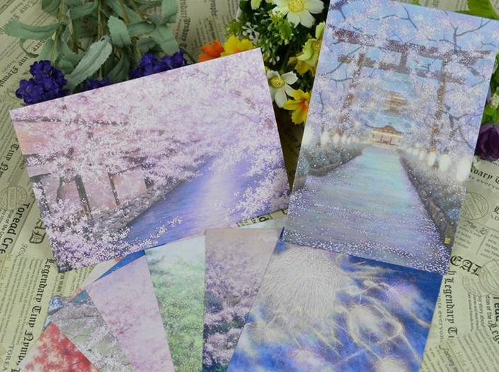 日本古风 手绘风景精美插画明信片 清新贺卡 9张一套