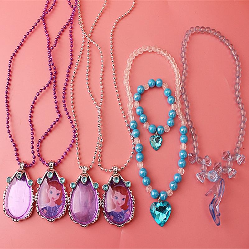Софи азия защищать тело символ фиолетовый ожерелье голубое сердце браслет золушка кристалл обувной модель осень ребенок аксессуары бесплатная доставка