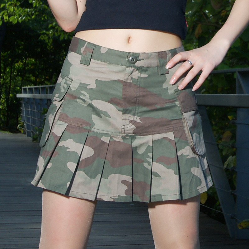 Sexy slim three-dimensional bag prairie camouflage skirt miniskirt womens spring and summer mini size pleated skirt half length skirt