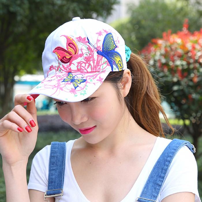 Бабочка весна осень Бейсболка дамы вышитые Hat корейской версии потоков из хип-хоп шапки утка языки козырек