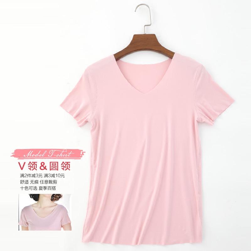 夏季莫代尔t恤女短袖纯色无痕宽松韩版V领打底衫女装百搭白色