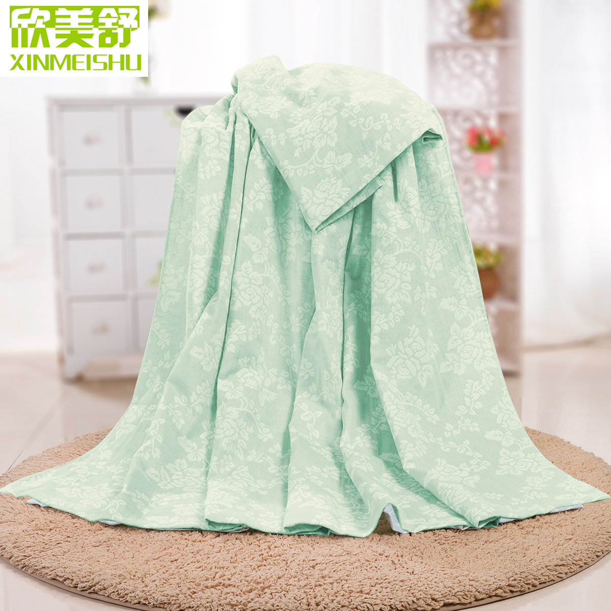 欣美舒毛巾被 純棉加厚空調毯毛巾毯子蓋毯紗布床單單人雙人