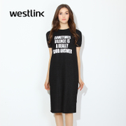 Westlink/West spring 2016 new letters bright silk straight short sleeve t-shirt dress long dress