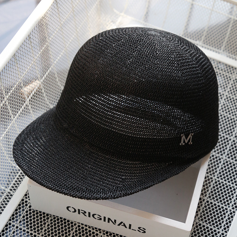 韩版草帽女夏天遮阳帽草编鸭舌帽字母棒球帽复古透气骑士帽太阳帽
