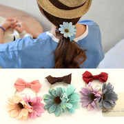 Know NI the Korean version of fresh color simulation Flower Butterfly elastic hair band first ring rope end flower hair accessories