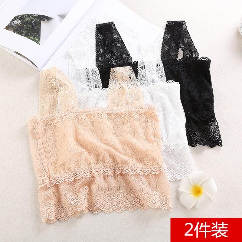 ��彤蕾丝吊带抹胸女夏薄款白色打底内衣短款美背防走光裹胸小背心