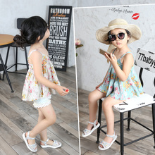 Candy house the new summer 2015 han edition of female children's clothing infant broken beautiful condole belt unlined upper garment of small vest candy house