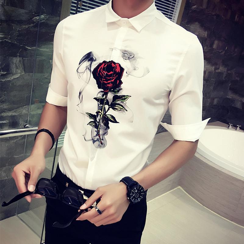 带玫瑰花印花图案的中袖衬衫短袖夏季韩版男士五分袖衬衣修身七分