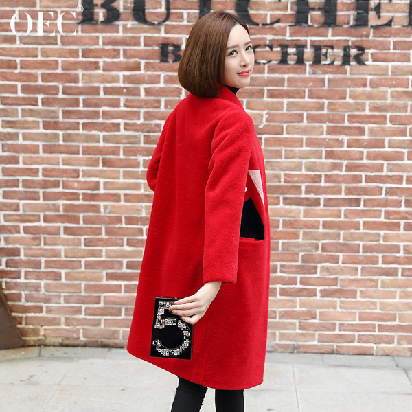 Slim 2016 autumn and winter long section of the new fur coat female lambs wool coat jacket fashion sheep shearing