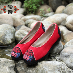 Chinese dance autumn new 15 old Beijing cloth shoes embroidered shoes girls fat wide skid shoes feet foot glass