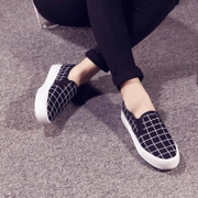 New Plaid pedal 2015 summer canvas shoes, thick-soled platform shoes women lazy people couple shoes Korean wave