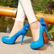 Singular love of women's shoes women's shoes the Club very high heels bow Candy-colored etiquette shoes 33-40 size