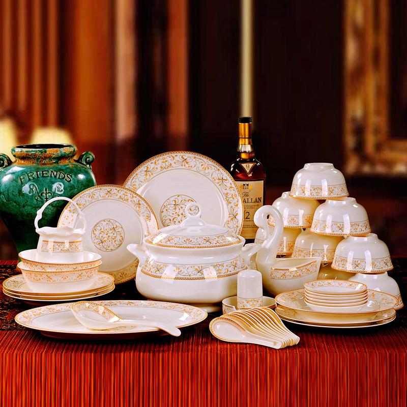 景德鎮骨瓷餐具套裝28頭56陶瓷器碗碟套裝碗盤韓式家用 包郵