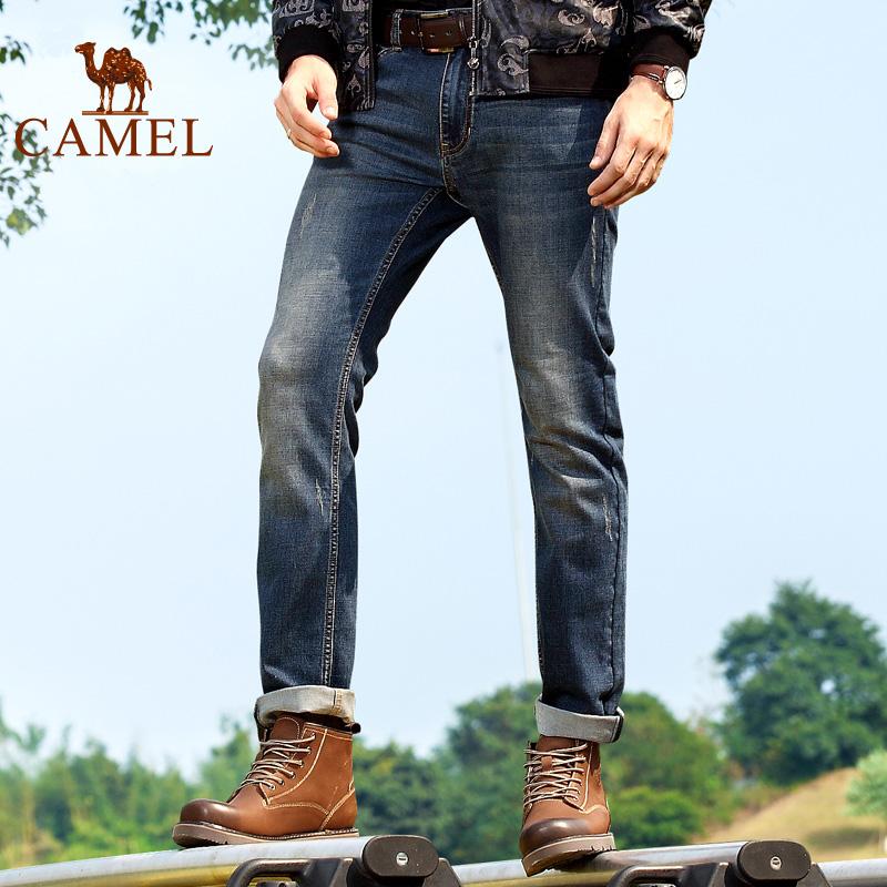 Верблюд джинсы мужчина случайный осень брюки мойка прямо брюки мужской наряд молодежь оболочка кот должен джинсы