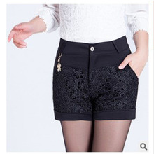 2015 straight han edition cultivate one's morality show thin lace stitching wide-legged big yards of tall waist summer autumn winter leisure render shorts