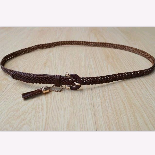 Free mail womens fine leather belt popular womens Woven full head leather belt womens superfine belt