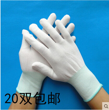 白尼龙手套防尘服贴作业针织劳保白色精细弹力无尘透气礼仪手套