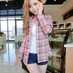 2015 fall and winter clothes new Women Korean Students thick warm long sleeved plaid shirt shirt blouse large size jacket