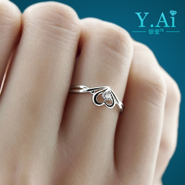 925 silver ring, female sterling silver jewelry, heart-shaped couple ring, marriage proposal, birthday gift, no lettering, free shipping