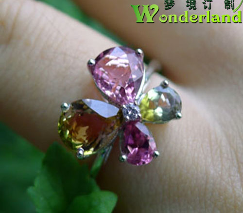 Natural pink yellow green tourmaline color gem Butterfly Ring 18K gold jewelry spot