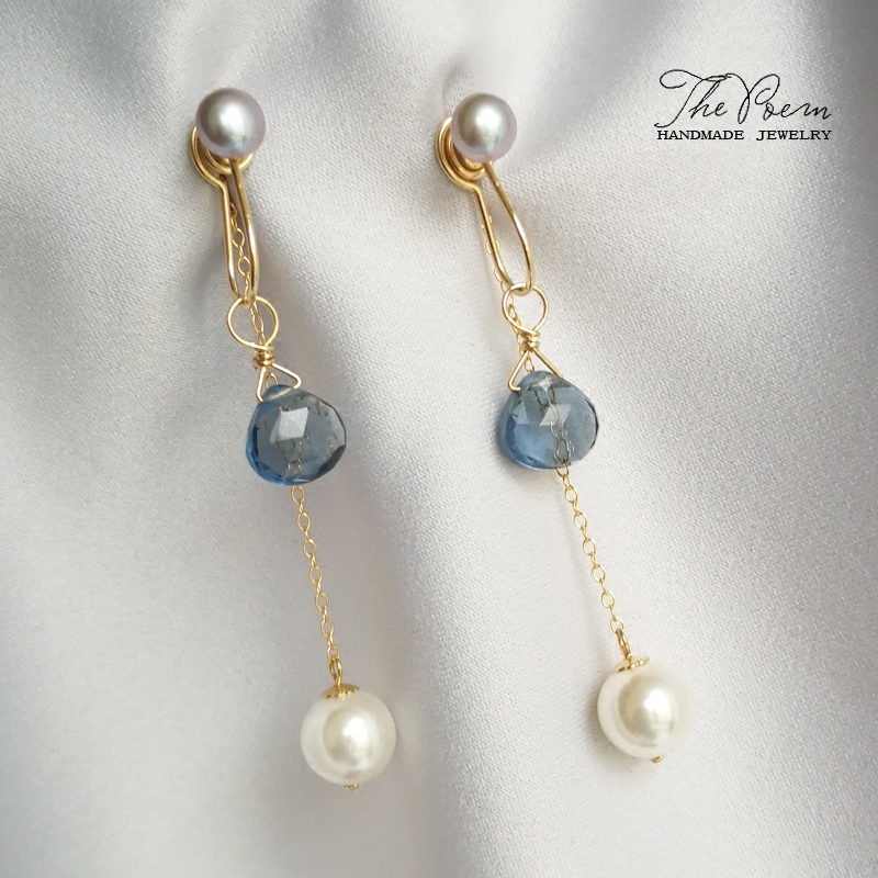 Original retro fresh American 14K Gold Gray Pearl Blue Quartz wind blown back drop chain without ear hole ear clip