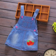 Baby denim skirt 1-2-3-1-2-3 year old girl in the spring and autumn outfit joker cartoon cowboy braces skirt of the girls