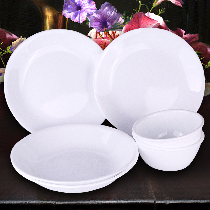 美國康寧corelle餐具紫梅9件組 純白12件組歐式玻璃陶瓷碗碟套裝