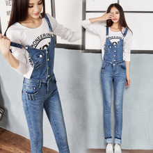 2015 college of qiu dong outfit wind sweet lady's overall cowboy pants jumpsuits condole female jeans cultivate one's morality