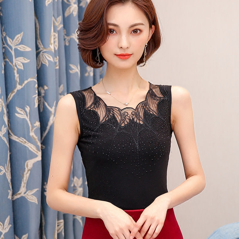 夏季黑色吊带背心女外穿性感短款蕾丝打底衫宽松百塔春夏大码女装