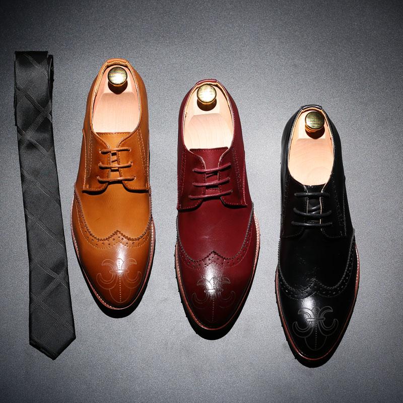 韩版潮流布洛克皮鞋时尚休闲尖头鞋雕花乐福鞋英伦内增高男鞋潮鞋