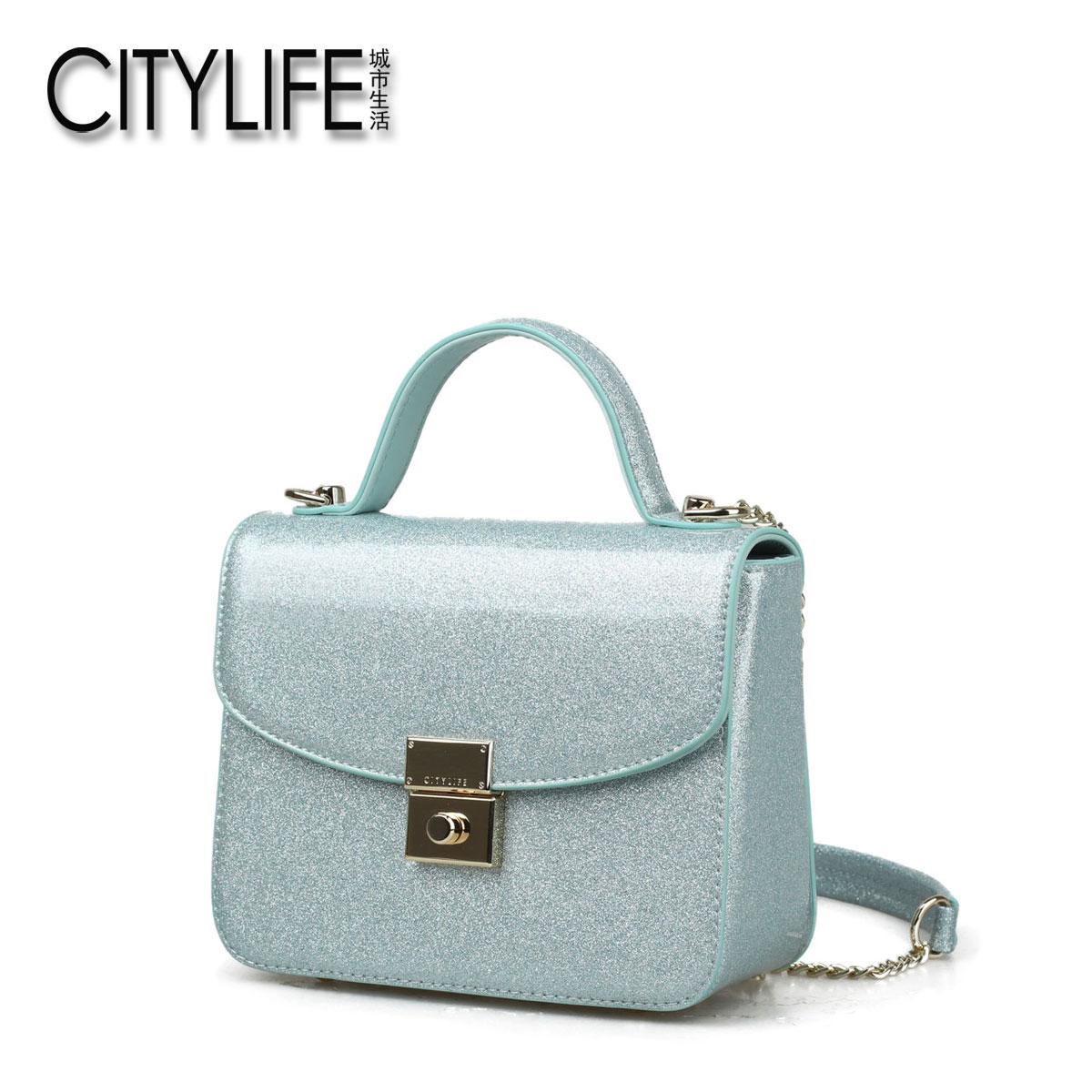 城市生活CITYLIFE女包新款�n版手提包亮面斜挎小包包