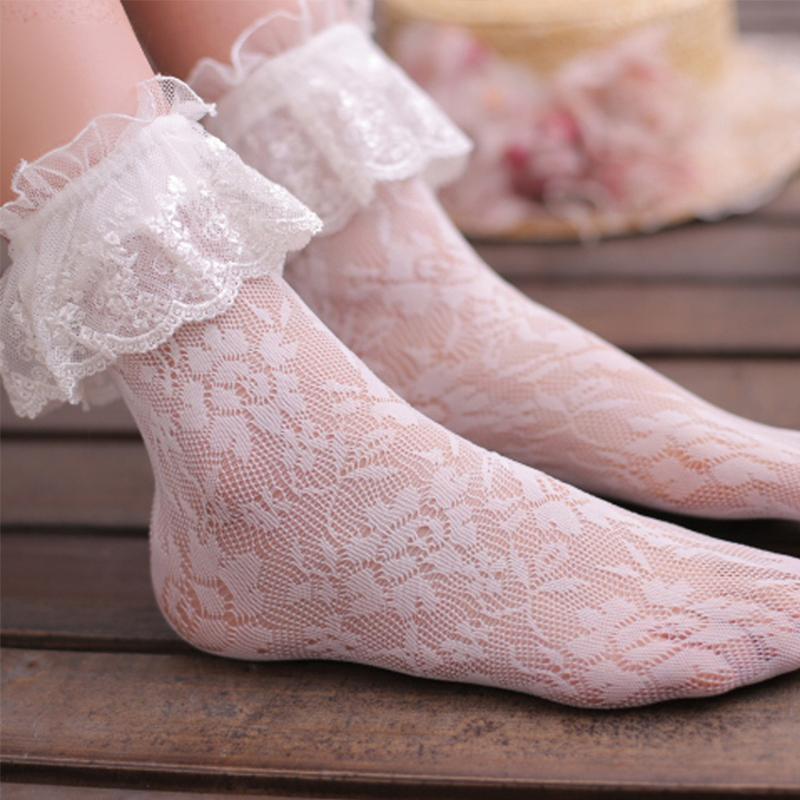 韩版日系薄公主复古网袜女中筒堆堆袜镂空提花洛丽塔蕾丝花边短袜