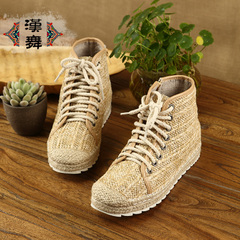 Chinese dance specials clearance ventilation high platform shoes leisure shoes cotton inside female footwear handmade straw shoes private letters