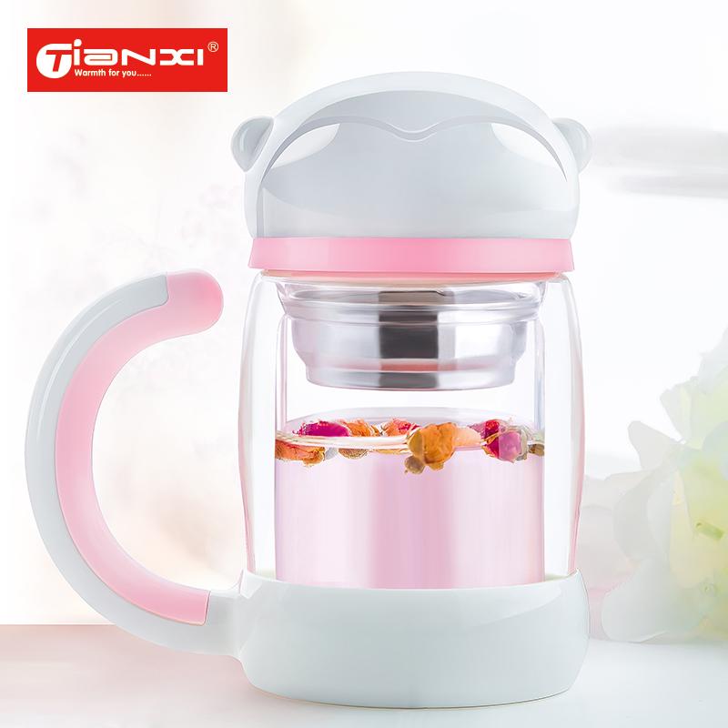 天喜杯子雙層保溫玻璃杯便攜過濾帶蓋女士泡茶杯 可愛猴子水杯