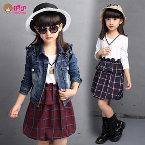 女童春装套装童装新款休闲牛仔上衣外套格子连衣裙儿童两件套