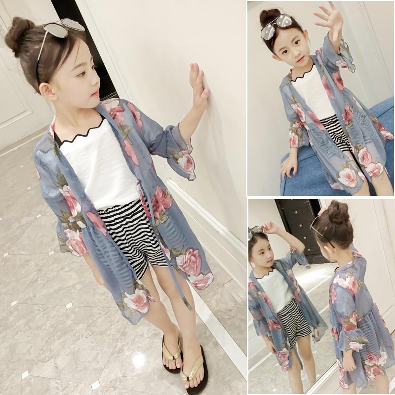 Девочки солнцезащитный одежды 2017 в новый заправила корейский длина тонкая модель ребенок лето кондиционер рубашка шифон пальто