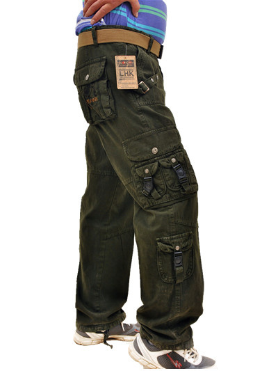 Outdoor mens Multi Pocket straight tube slim fitting overalls cotton casual loose pants promotion