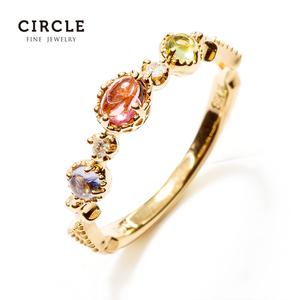 Circle珠宝粉红碧玺戒指18k黄金坦桑石戒指天然彩色宝石钻戒女