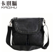 Kaqi Fox leather Messenger bag Ling Plaid handbag large-capacity, wide straps comfortable leisure bags stylish and practical backpack
