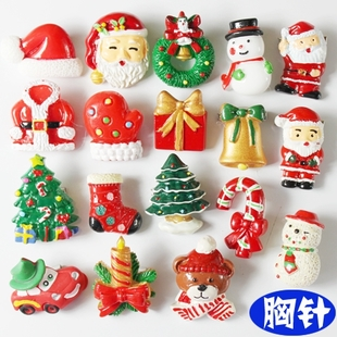 Brooch 10 Christmas tree ornaments Christmas gifts Christmas hats badge brooch wholesale spot