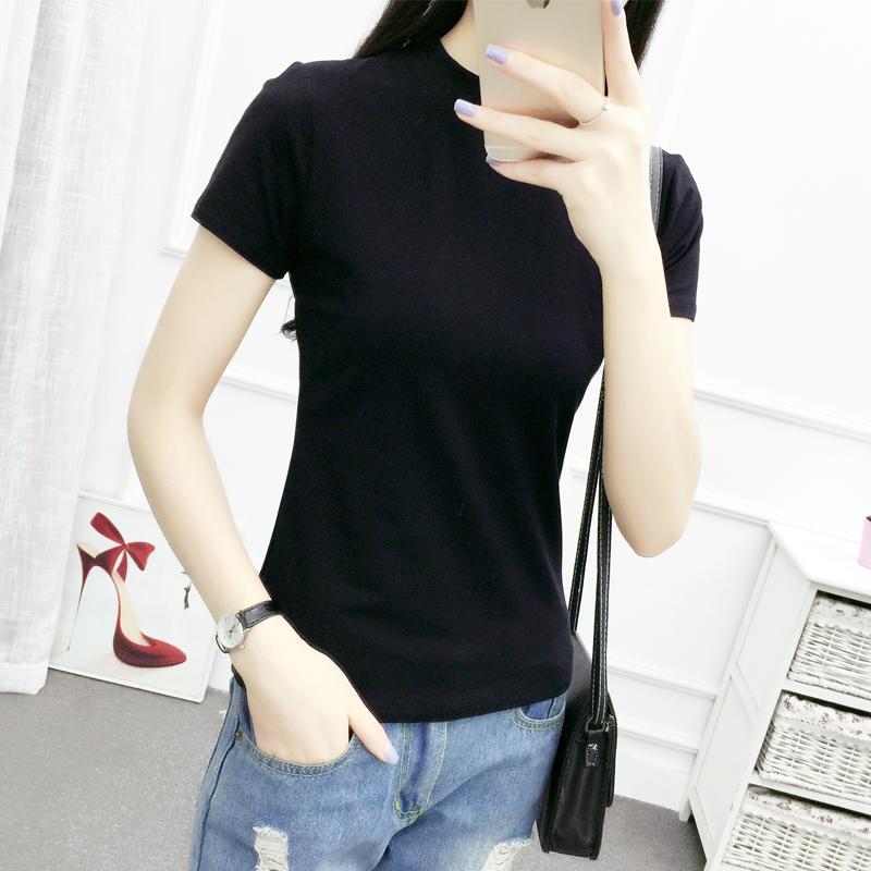 韩版装夏纯白色半高领修身短袖T恤女紧身韩国气质打底衫纯棉上衣