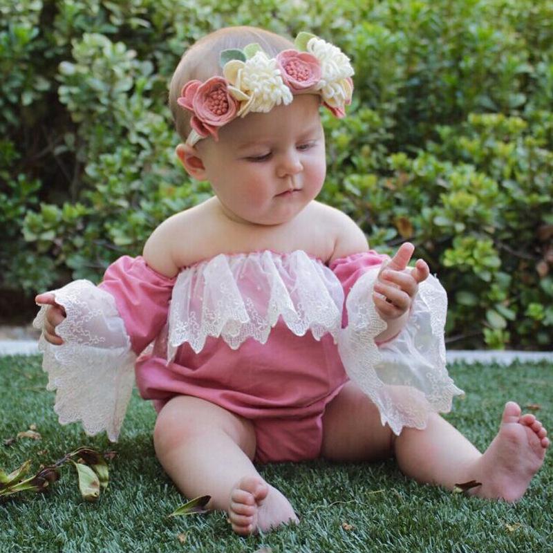 儿童外贸欧美夏季款女童蕾丝可爱抹胸露肩连身哈衣童装 ins