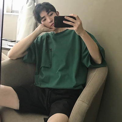 2019夏季宽松百搭纯色倒口袋短袖T恤 B72-P38
