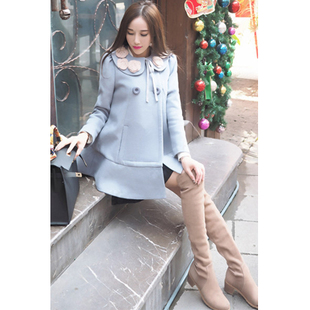 2015 New Ruiwei super beautiful double flowers collar gray cashmere coat woolen coat blue 1222