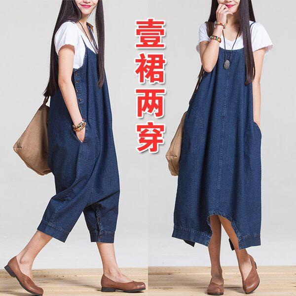 独家夏装牛仔孕妇吊带长裙 孕妇装连衣裙 韩版新款时尚牛仔背带裤