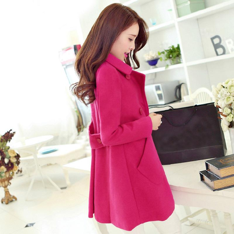 2014 осень новый стиль шерсти пальто длинный тонкий отворотами в корейской версии дамы пальто мыса шерстяное пальто