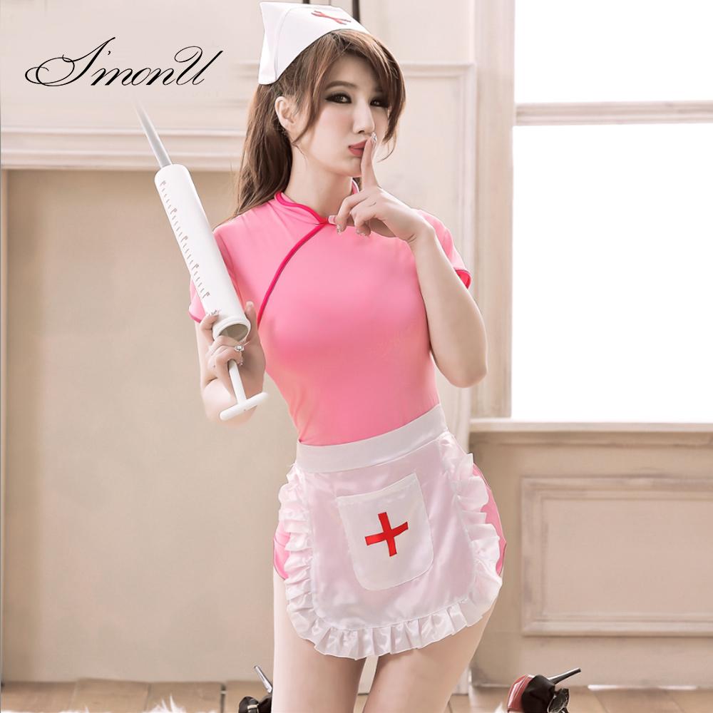 爱忧情趣内衣中国风性感旗袍弹力三件套可爱护士服睡衣睡裙