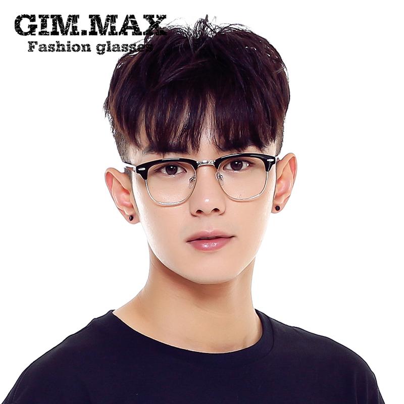 GIMMAX ретро черной оправе очков кадр Мужская звезда половину женского корейской версии оптические очки кадр очки кадр прилив