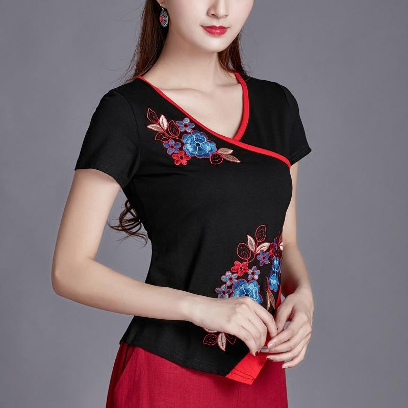 夏装中国风民族风女装上衣 刺绣V领短袖t恤女修身大码纯棉打底衫