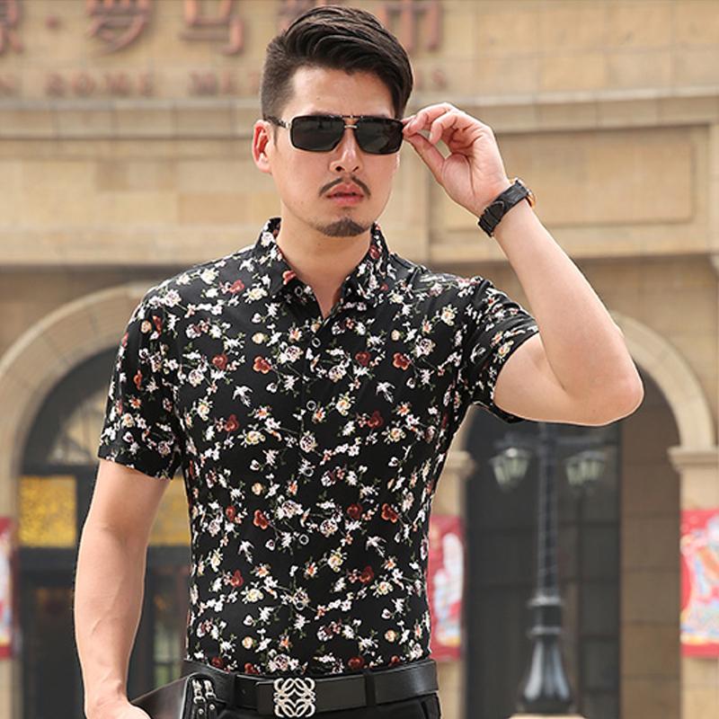 哥特歌行菲菲花鹊双丝光棉修身短袖衬衫中国风商务男植棉休闲衬衣